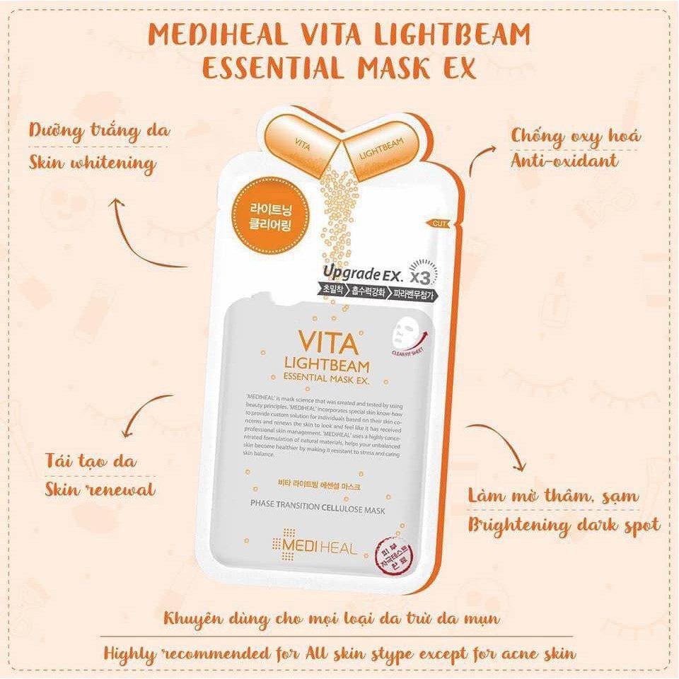 Mặt Nạ Trị Thâm, Trắng Da Mediheal Vita Lightbeam Essential Mask - Skin365  - Mỹ phẩm chính hãng