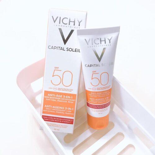 Kem chống nắng Vichy Capital Soleil 3 in 1 Anti-Aging SPF50 50mL